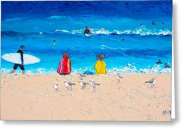 Surfing Art Print Paintings Greeting Cards - Surfer Girls Greeting Card by Jan Matson