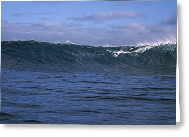 The Natural World Greeting Cards - Surfer In The Sea, Maui, Hawaii, Usa Greeting Card by Panoramic Images