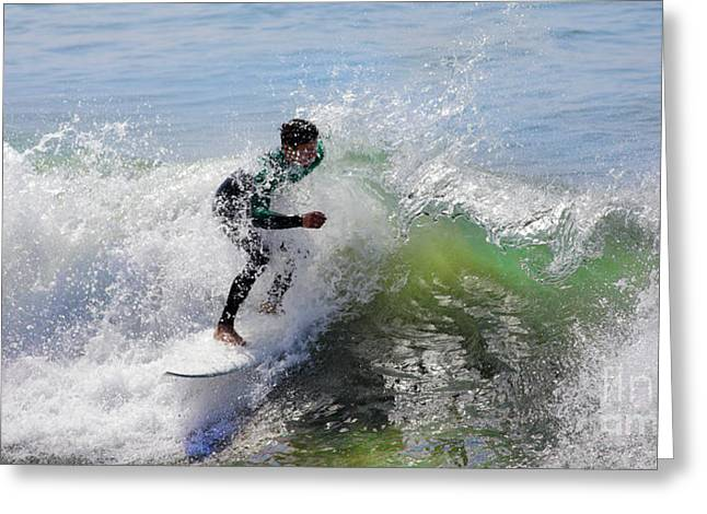 Surfing California Greeting Cards - Surfer Greeting Card by Nicholas Burningham