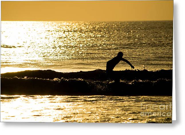 Actions Pyrography Greeting Cards - Surfer silhouette golden sunrise Greeting Card by Michael Bennett