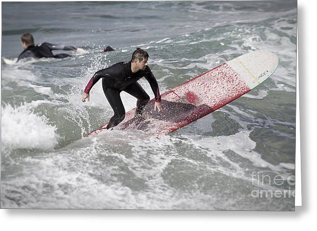 Long Boards Greeting Cards - Surfing on a Long Board off the California coast in Pismo Beach Greeting Card by ELITE IMAGE photography By Chad McDermott