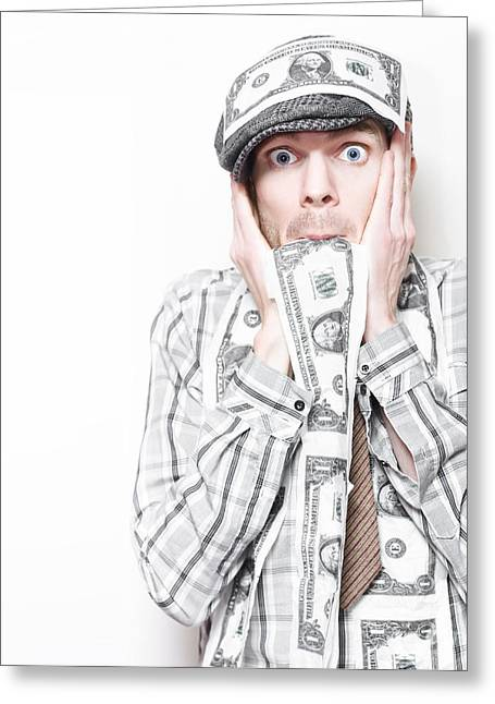 Surprised American Business Man Covered In Money Greeting Card by Jorgo Photography - Wall Art Gallery