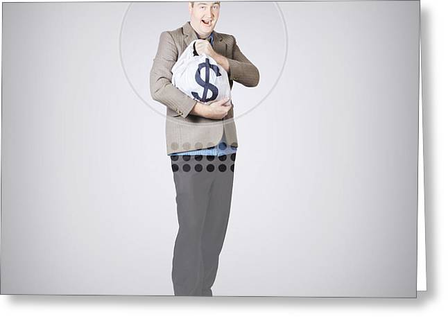 Withdrawal Greeting Cards - Surprised business man holding money bag in bank Greeting Card by Ryan Jorgensen