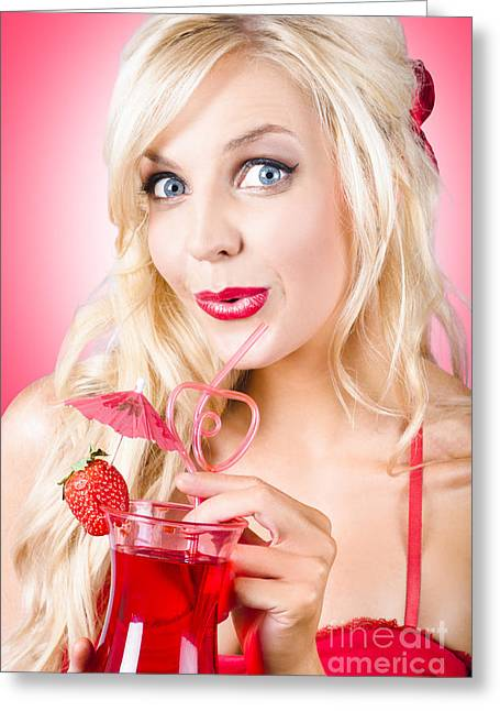 Vamp Greeting Cards - Surprised young woman drinking nightclub cocktail Greeting Card by Ryan Jorgensen