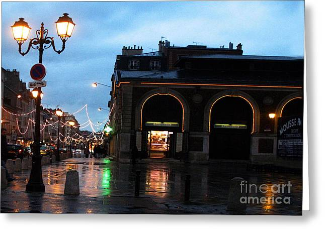 Rainy Night Greeting Cards - Surreal Rainy Night Streets of Versailles France  Greeting Card by Kathy Fornal