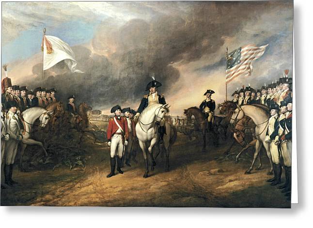 Old Masters Greeting Cards - Surrender of Lord Cornwallis Greeting Card by John Trumbull
