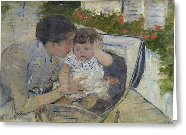 Cassatt Greeting Cards - Susan Comforting The Baby Greeting Card by Celestial Images