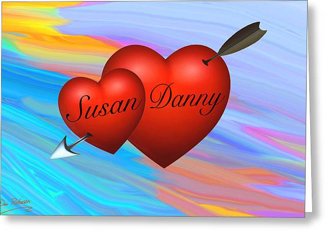Amazing Sunset Mixed Media Greeting Cards - Susan loves Danny Greeting Card by Dan Robinson