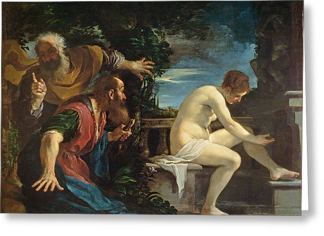 Lust Greeting Cards - Susanna And The Elders Greeting Card by Guercino