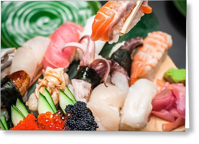 Sashimi Greeting Cards - Sushi Greeting Card by Perfect Lazybones