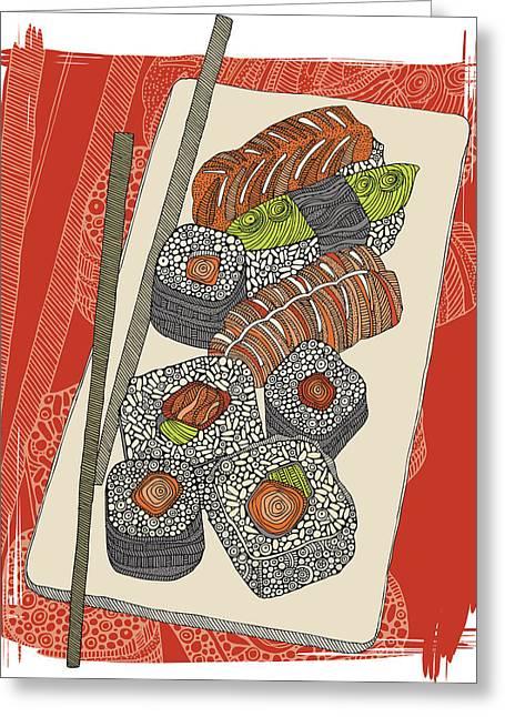 Japanese Fish Greeting Cards - Sushi Greeting Card by Valentina Ramos
