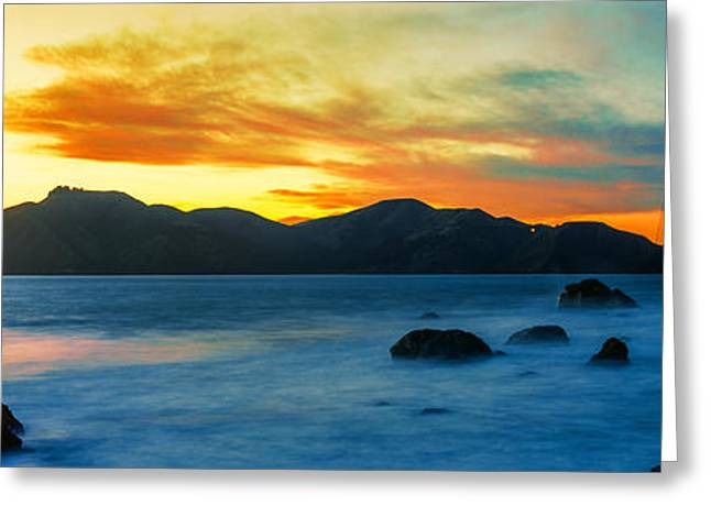 California Ocean Photography Greeting Cards - Suspension Bridge Across A Bay At Dusk Greeting Card by Panoramic Images