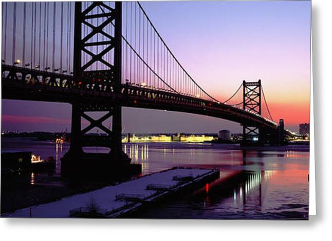 Franklin Greeting Cards - Suspension Bridge Across A River, Ben Greeting Card by Panoramic Images