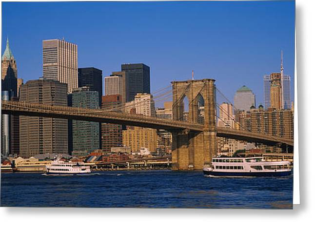 Famous Bridge Greeting Cards - Suspension Bridge Across A River Greeting Card by Panoramic Images
