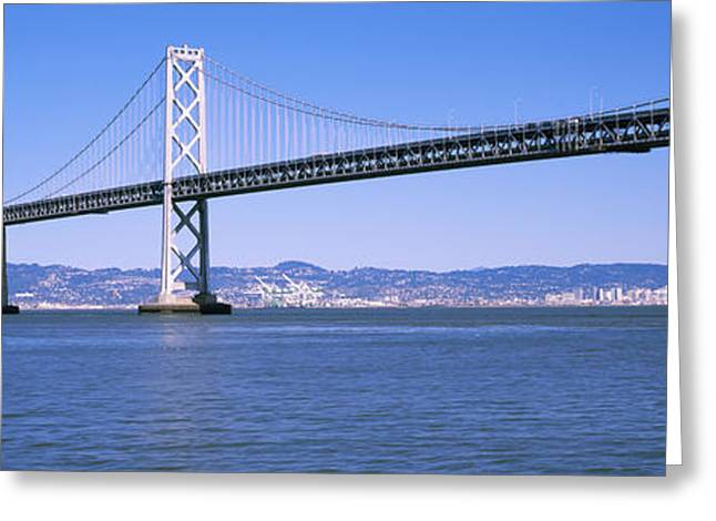 San Francisco Bay Greeting Cards - Suspension Bridge Across The Bay, Bay Greeting Card by Panoramic Images
