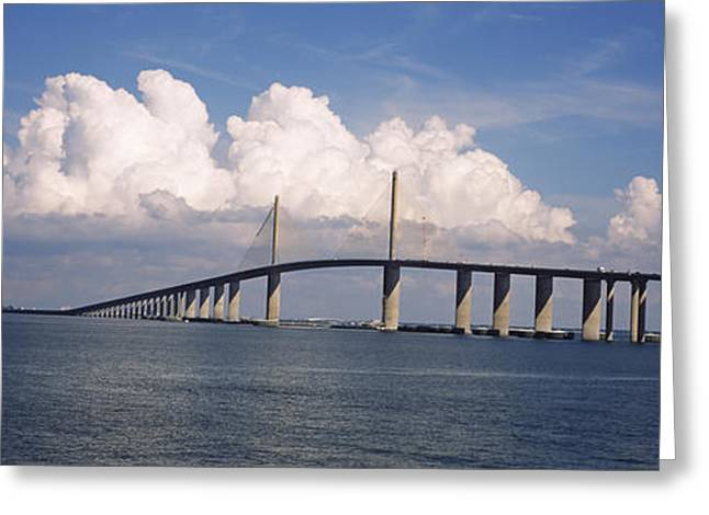 Florida Bridge Greeting Cards - Suspension Bridge Across The Bay Greeting Card by Panoramic Images