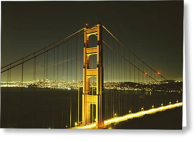 Famous Bridge Greeting Cards - Suspension Bridge Across The Sea Greeting Card by Panoramic Images