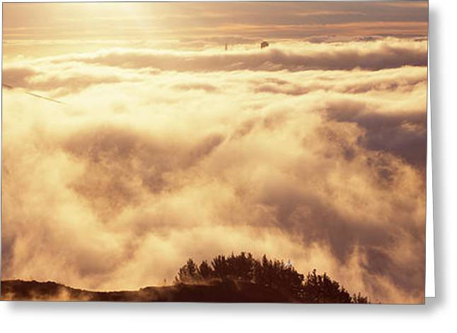 Hawk Hill Greeting Cards - Suspension Bridge Covered With Fog Greeting Card by Panoramic Images
