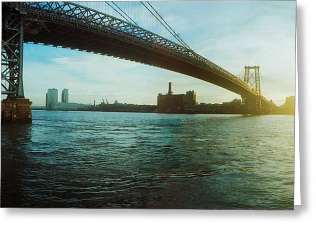 Williamsburg Greeting Cards - Suspension Bridge Over A River Greeting Card by Panoramic Images