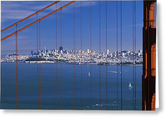Marin County Greeting Cards - Suspension Bridge With A City Greeting Card by Panoramic Images