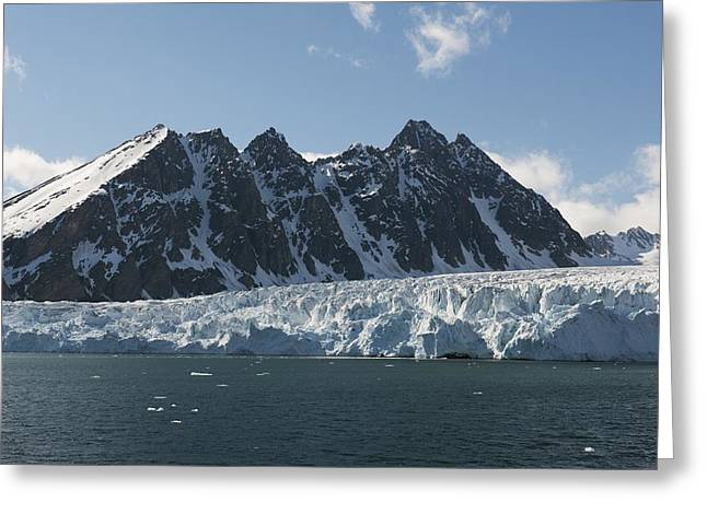 Norwegian Coast Greeting Cards - Svalbard glacier, Norway Greeting Card by Science Photo Library