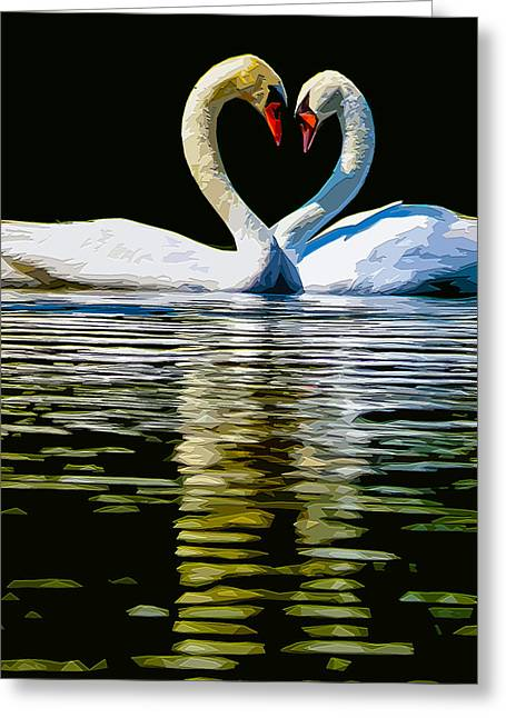 Bonding Digital Art Greeting Cards - Swan Heart Greeting Card by Brian Stevens