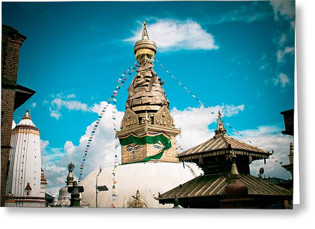 Swayambhunath Stupa In Nepal Greeting Card by Raimond Klavins
