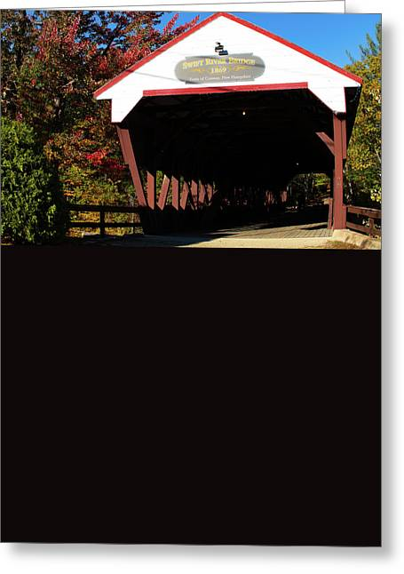"""autumn Foliage New England"" Greeting Cards - Swift River Covered Bridge Greeting Card by Jeff Folger"