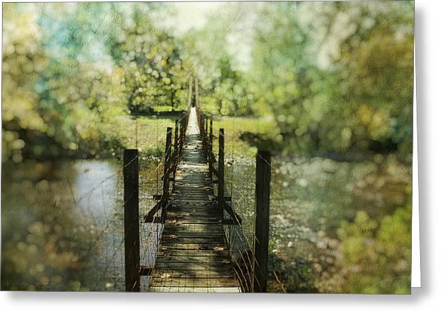 Bridge Posters Greeting Cards - Swinging Bridge Greeting Card by Kathy Jennings