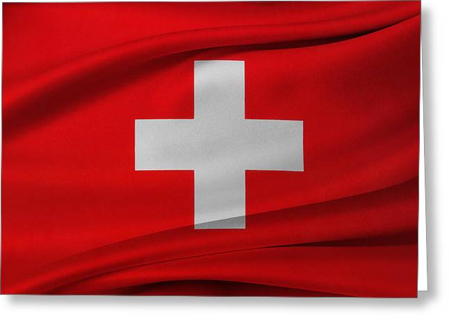 Waving Flag Greeting Cards - Swiss flag Greeting Card by Les Cunliffe
