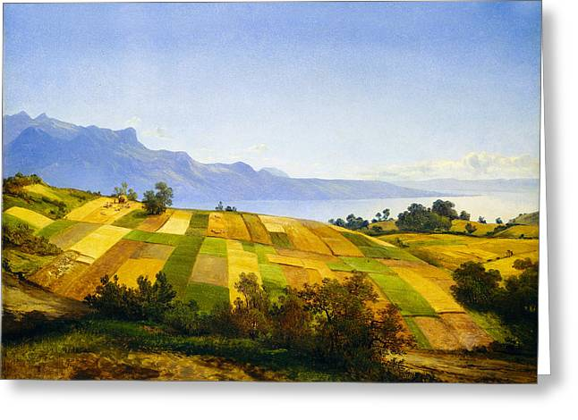 Field. Cloud Digital Art Greeting Cards - Swiss Landscape Greeting Card by Alexandre Calame