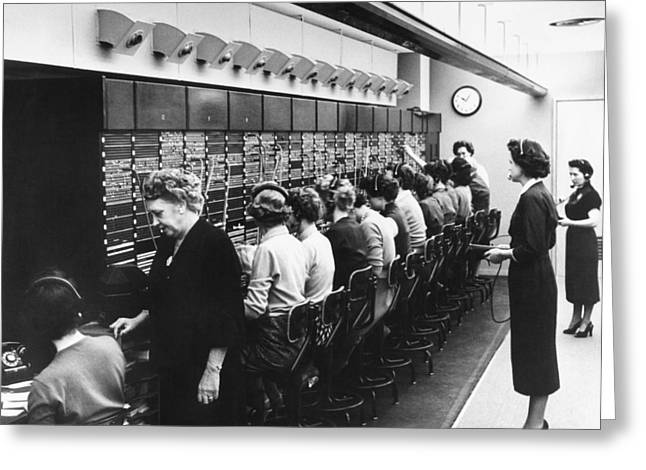 Mid Adult Women Greeting Cards - Switchboard Operators Greeting Card by Underwood Archives