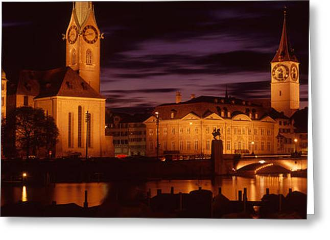Historical Images Greeting Cards - Switzerland, Zurich, Limmat River Greeting Card by Panoramic Images