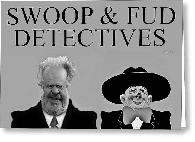 Cartoon Sculptures Greeting Cards - Swoop and Fud - Detectives Greeting Card by David Wiles