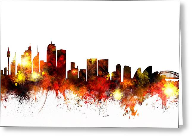 Australia Digital Art Greeting Cards - Sydney Australia Skyline Greeting Card by Michael Tompsett