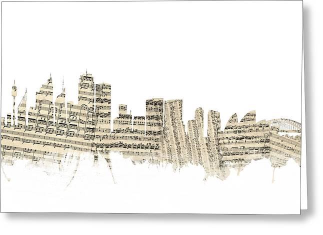 Sydney Australia Skyline Sheet Music Cityscape Greeting Card by Michael Tompsett