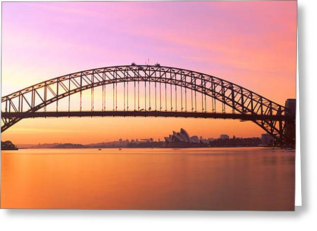 Famous Bridge Greeting Cards - Sydney Harbor Bridge, Sydney, New South Greeting Card by Panoramic Images