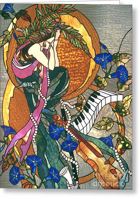 Art Nouveau Glass Art Greeting Cards - Symphony Greeting Card by John Emery