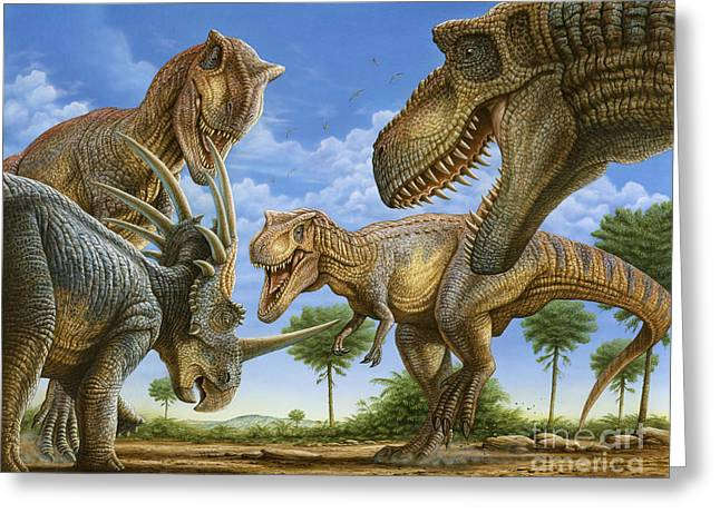 Phil Wilson Greeting Cards - T-rex Attack Greeting Card by Phil Wilson