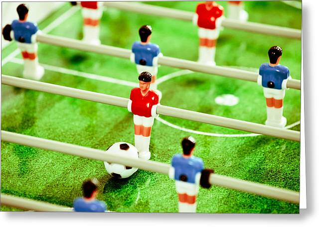 Aiming Greeting Cards - Table Football Greeting Card by Tom Gowanlock