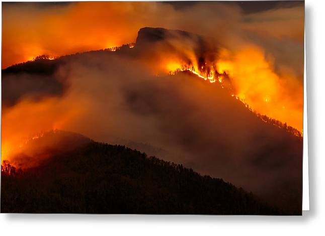 Engulfing Greeting Cards - Table Rock Fire  Greeting Card by Mark Steven Houser