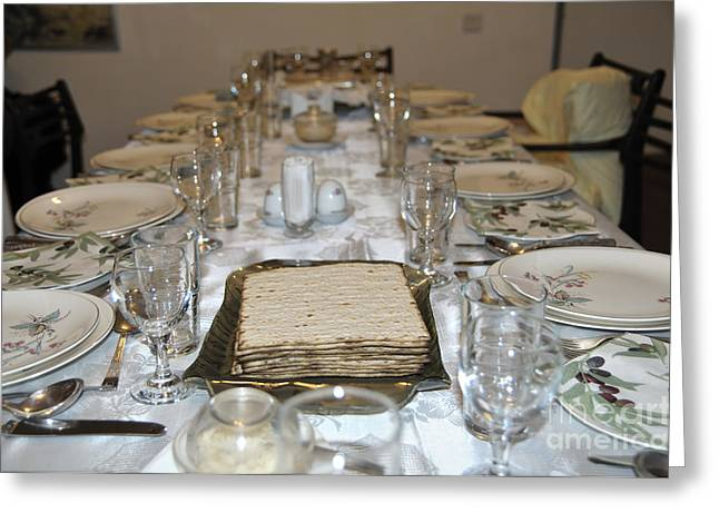 Pesach Greeting Cards - Table set for a Jewish Festive meal on Passover  Greeting Card by Ilan Rosen