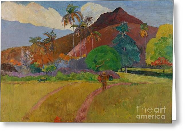 Tahiti Greeting Cards - Tahitian Landscape Greeting Card by Paul Gauguin
