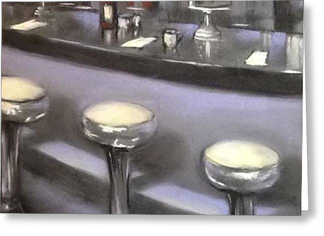 Napkin Pastels Greeting Cards - Take a Spin at the Oakhurst Diner Greeting Card by Judy Albright