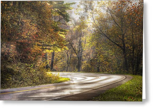Smokey Mountain Drive Greeting Cards - Take the Back Roads Greeting Card by Debra and Dave Vanderlaan