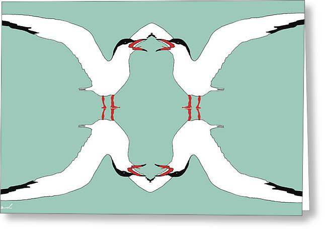 Tern Digital Art Greeting Cards - Talking Terns Greeting Card by Jeanette Charlebois