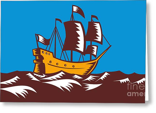 Tall Ships Greeting Cards - Tall Sailing Ship Retro Woodcut Greeting Card by Aloysius Patrimonio