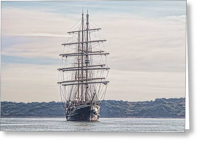 Historic Schooner Greeting Cards - Tall ship at anchor Greeting Card by Colin Porteous
