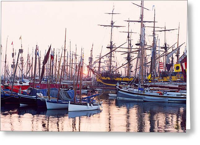 Sailboat Images Greeting Cards - Tall Ship In Douarnenez Harbor Greeting Card by Panoramic Images