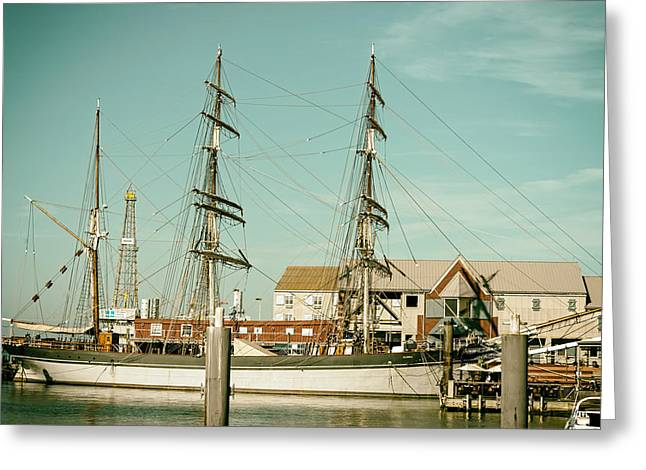 Tall Ships Greeting Cards - Tall Ship in Galveston Bay Greeting Card by Mountain Dreams
